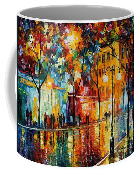 Leonid Afremov Coffee Mug featuring the painting The Tears Of The Fall - Palette Knife Oil Painting On Canvas By Leonid Afremov by Leonid Afremov