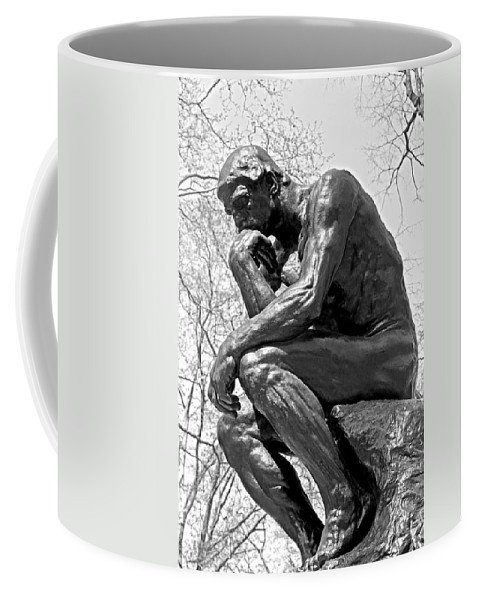 City Scenes Coffee Mug featuring the photograph The Thinker In Black And White by Lisa Phillips