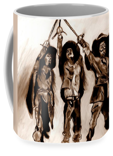 The Three Musketeers Coffee Mug featuring the drawing The Three Musketeers by Herbert Renard