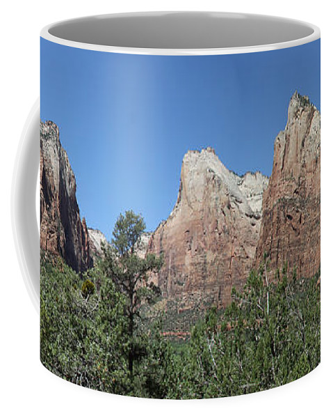 Three Patriarchs Coffee Mug featuring the photograph The Three Patriarchs In Zion Canyon - Panorama by Christiane Schulze Art And Photography
