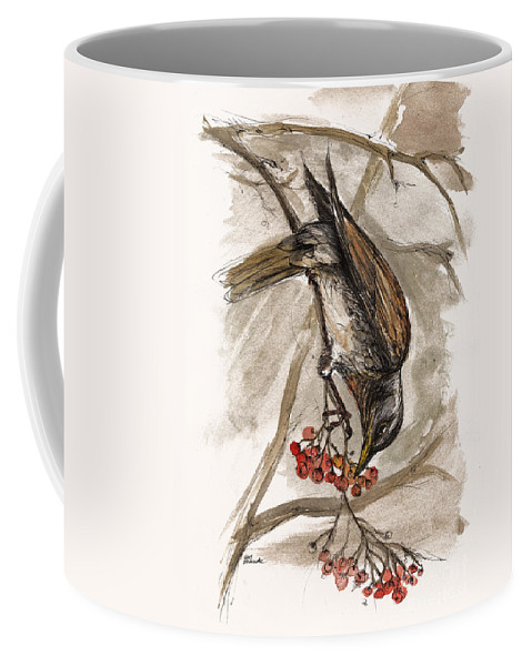 Thrush Coffee Mug featuring the painting The Thrush Eating Cranberries by Angel Ciesniarska