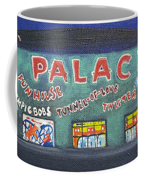 Tillie Of Asbury Park Coffee Mug featuring the painting The Tiny Tiny Palace by Patricia Arroyo