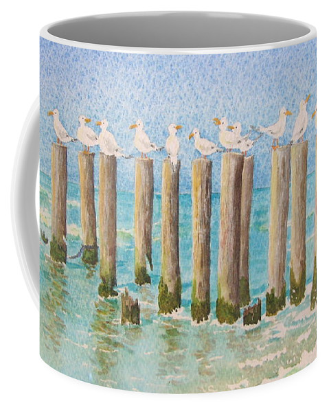 Seagulls Coffee Mug featuring the painting The Town Meeting by Mary Ellen Mueller Legault