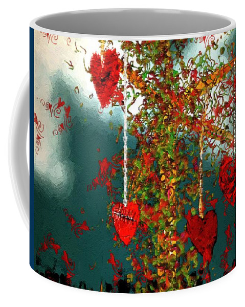 Hearts Coffee Mug featuring the painting The Tree Of Hearts by RC DeWinter