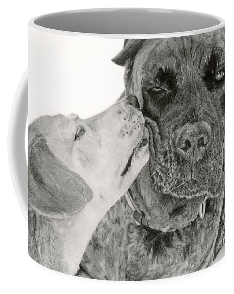 Dogs Coffee Mug featuring the drawing The Unconditional Love Of Dogs by Sarah Batalka