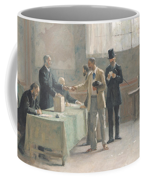 The Universal Franchise Coffee Mug featuring the painting The Universal Franchise by Alfred-Henri Bramtot