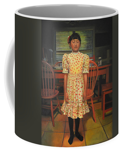 Children Paintings Coffee Mug featuring the painting The Valentine Dress by Thu Nguyen