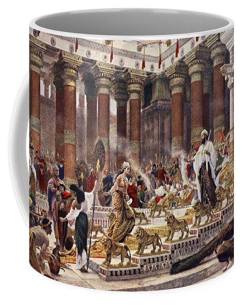 Royalty Coffee Mug featuring the drawing The Visit Of The Queen Of Sheba To King by Sir Edward John Poynter