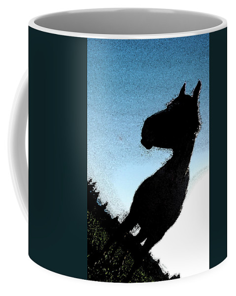 Horse Coffee Mug featuring the photograph The Visiter by Kathy Sampson