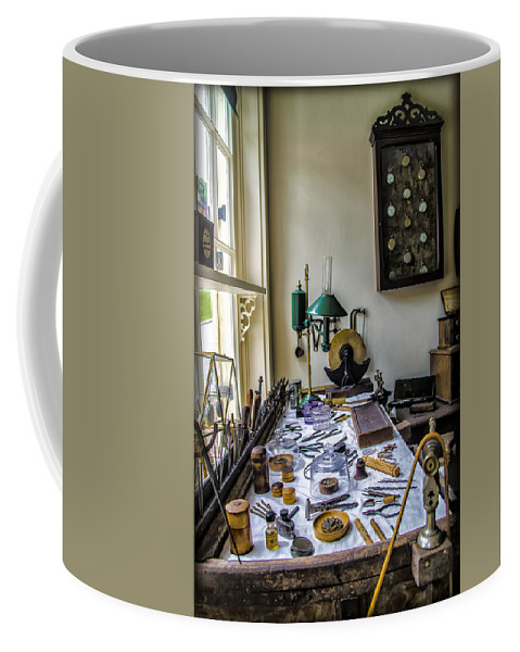 Watch Coffee Mug featuring the photograph The Watch Repair Shop by Bill Cannon