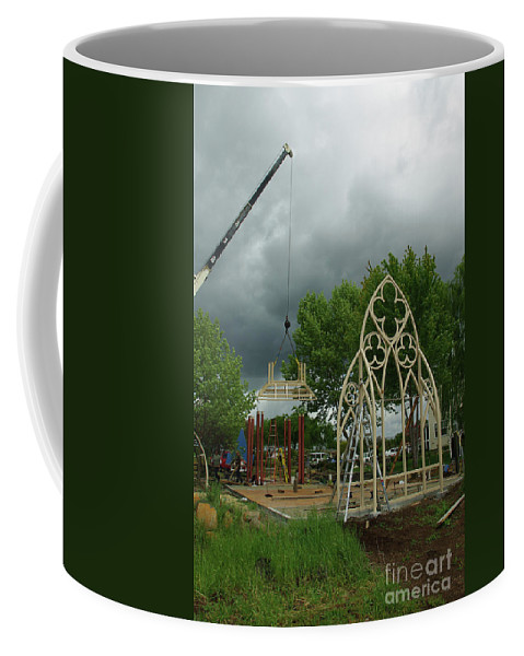 A Wedding Gazebo With Gothic Widows. Coffee Mug featuring the photograph The Wedding Place Install by Peter Piatt