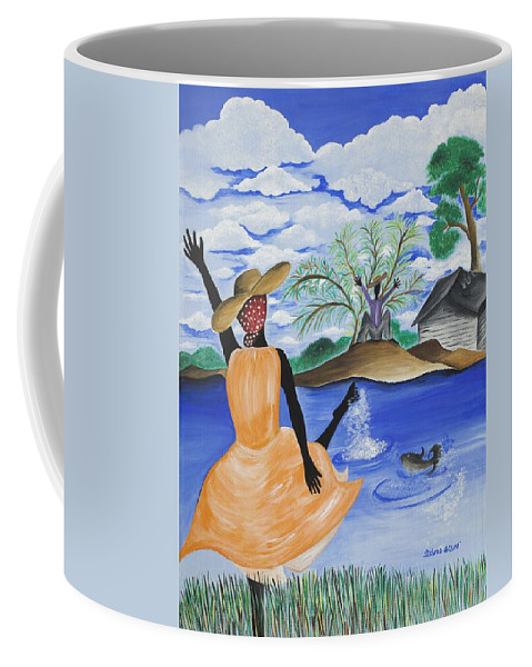 Gullah Art Coffee Mug featuring the painting The Welcome River by Patricia Sabree