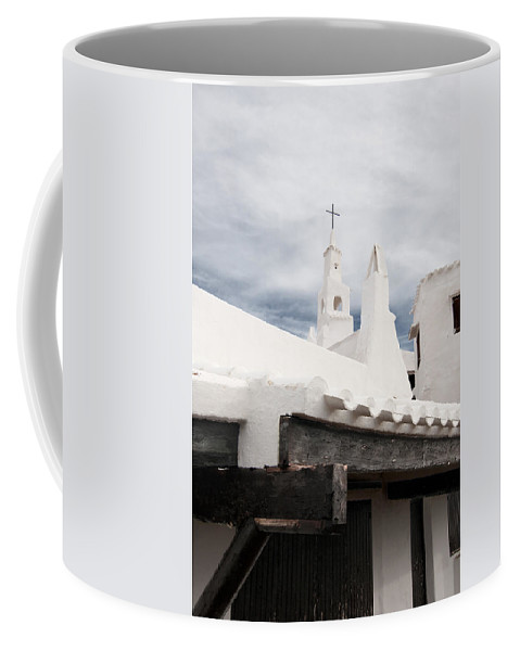 Azure Coffee Mug featuring the photograph Binibeca Vell In Menorca Is A Small Fishermen Villa With The Taste Of Past Times - The White Chapel by Pedro Cardona Llambias