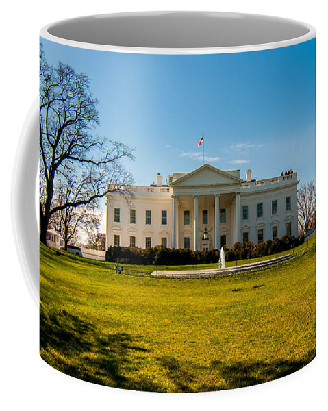 District Coffee Mug featuring the photograph The White House In Washington Dc With Beautiful Blue Sky by Alex Grichenko