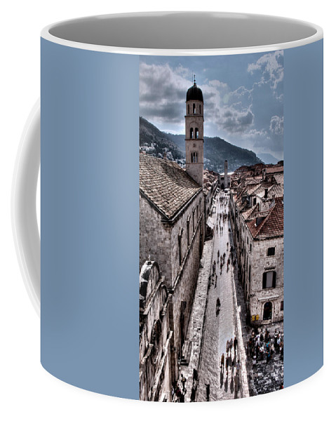 Stradun Coffee Mug featuring the photograph The White Tower In The Stradun From The Ramparts by Weston Westmoreland