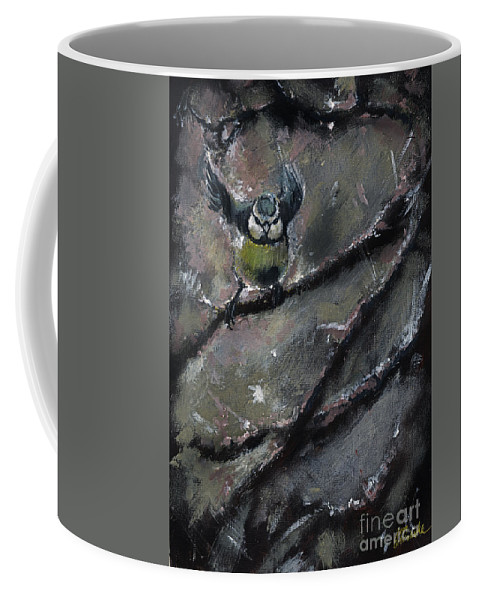 Tit Coffee Mug featuring the painting The Winter Tales by Angel Tarantella
