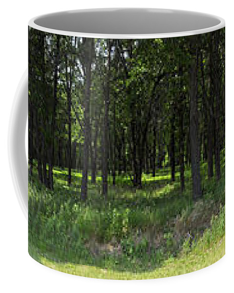 Panorama Coffee Mug featuring the photograph The Woods And The Road From The Series The Imprint Of Man In Nature by Verana Stark