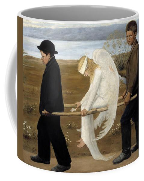 Hugo Simberg Coffee Mug featuring the painting The Wounded Angel by Hugo Simberg
