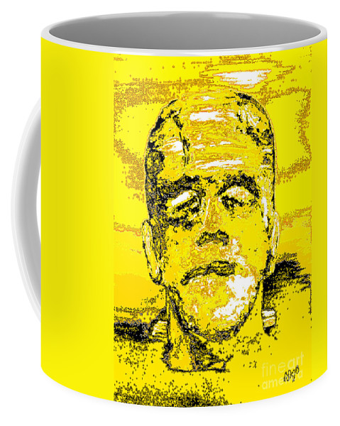 Digital Coffee Mug featuring the digital art The Yellow Monster by Alys Caviness-Gober