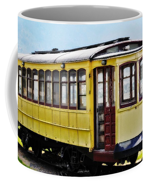 Butte Coffee Mug featuring the photograph The Yellow Trolley Car by Image Takers Photography LLC - Laura Morgan