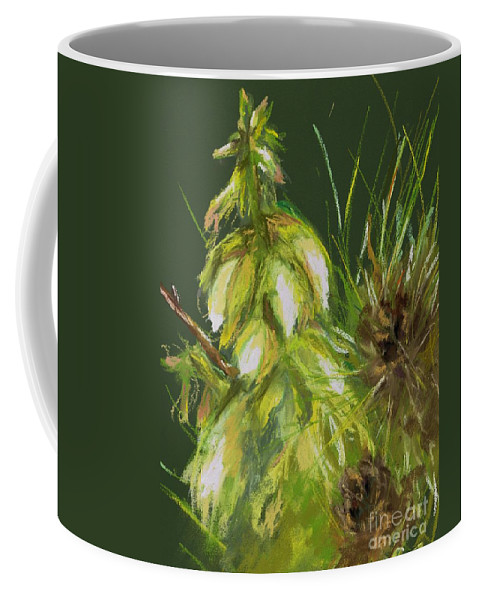 Desert Flowers Coffee Mug featuring the drawing Theres A Yucca In My Yard by Frances Marino