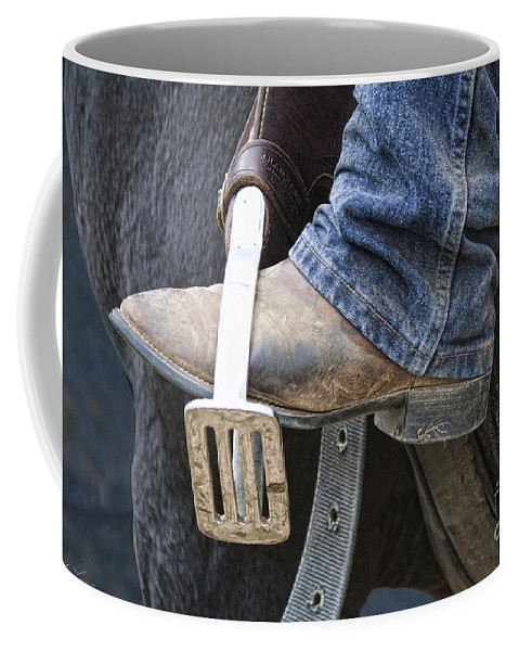Boot Coffee Mug featuring the photograph These Boots Are Made For Working by Linda Lees