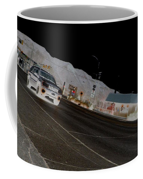 Color Photography Coffee Mug featuring the photograph They Drive By Night by Kirk Griffith