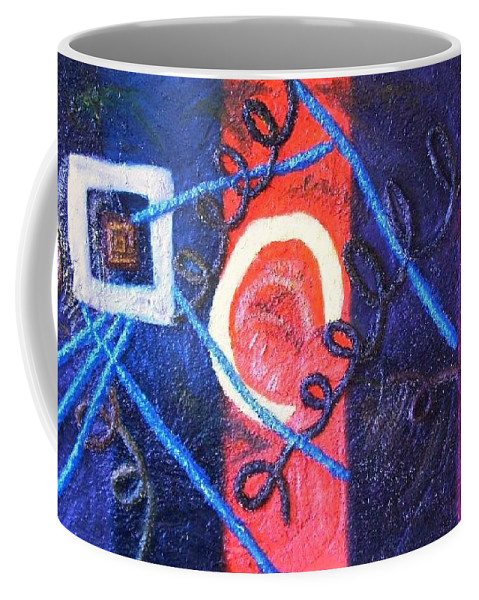 Mixed Media Coffee Mug featuring the painting Thin Line Between Love And Sex by Leslye Miller