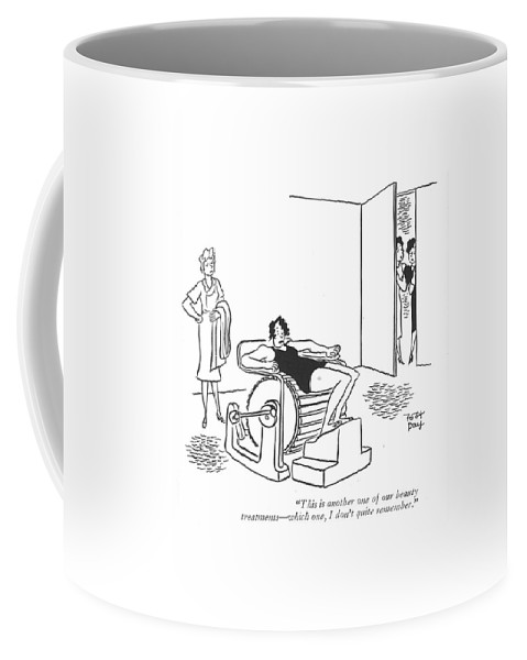 110337 Rda Robert J. Day Woman Showing Customer Around Salon And Comes Upon Another Customer On Rotating Barrel. Appearance Appearances Around Barrel Center Club Clubs Comes Customer Exercises ?tness Gym Health Info Information Machine Machines Member Members Rotating Salon Showing Spa Spas Stretch Tour Tours Treatment Upon Woman Workout Workouts Coffee Mug featuring the drawing This Is Another One Of Our Beauty Treatments - by Robert J. Day