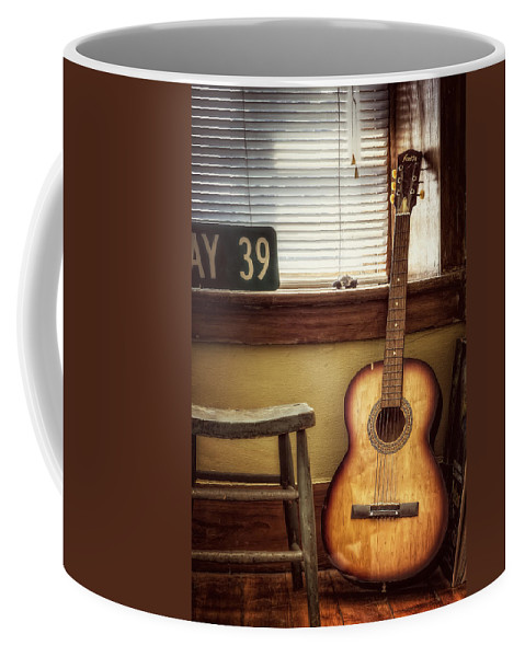 Guitar Coffee Mug featuring the photograph This Old Guitar by Scott Norris