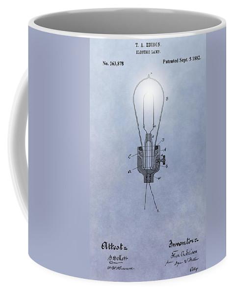 Thomas Edison Electric Lamp Patent Coffee Mug featuring the digital art Thomas Edison Electric Lamp Patent by Dan Sproul