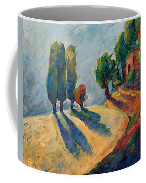 California Coffee Mug featuring the painting Three And One Trees by Konnie Kim