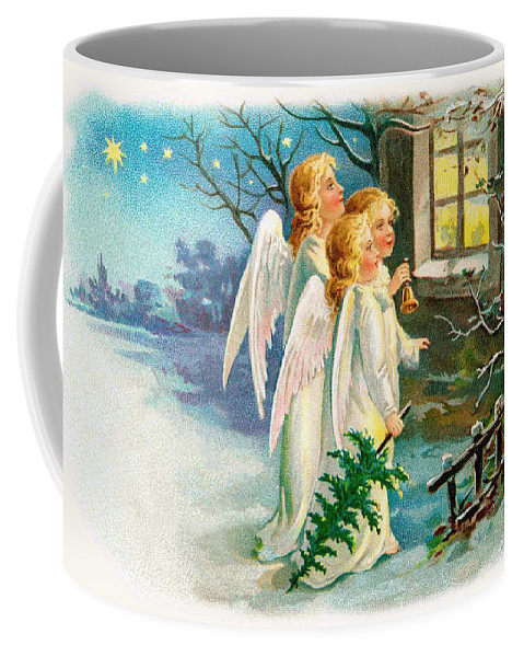 Angels Coffee Mug featuring the photograph Three Angels In White Dresses by Munir Alawi