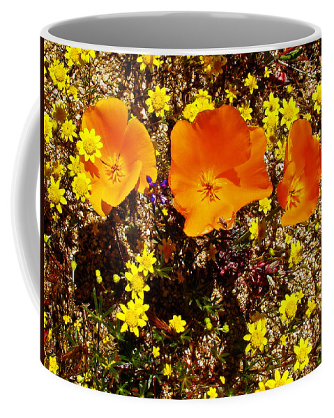 Three California Poppies Among Goldfields In Antelope Valley California Poppy Reserve Coffee Mug featuring the photograph Three California Poppies Among Goldfields In Antelope Valley California Poppy Reserve by Ruth Hager