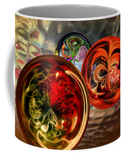 Sphere Coffee Mug featuring the digital art Three Colored Balls by Georgianne Giese