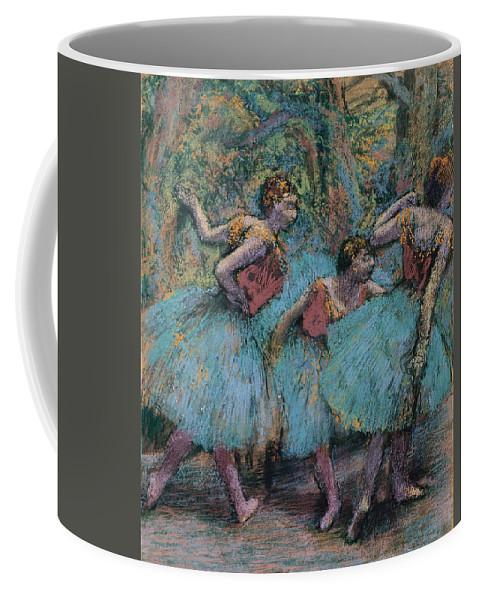Edgar Degas Coffee Mug featuring the painting Three Dancers.blue Tutus Red Bodices by Edgar Degas