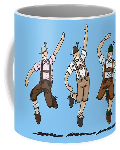Frank Ramspott Coffee Mug featuring the drawing Three Dancing Oktoberfest Lederhosen Men by Frank Ramspott