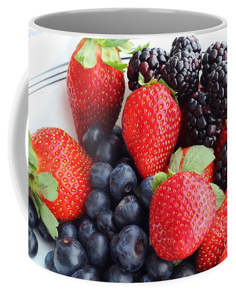 Three Fruit Coffee Mug featuring the photograph Three Fruit - Strawberries - Blueberries - Blackberries by Barbara Griffin