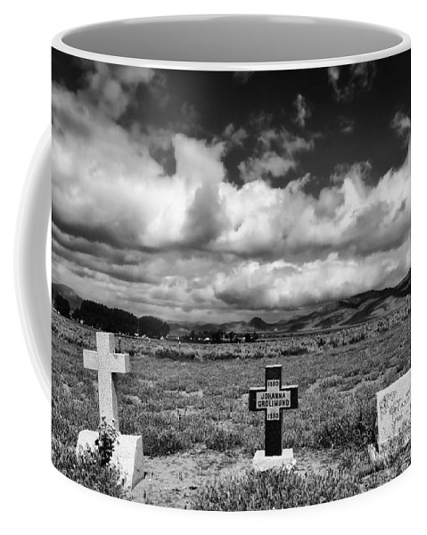 Headstones Coffee Mug featuring the photograph Three Headstones by Mick Burkey
