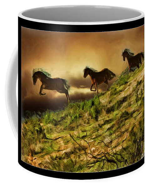 Horses Coffee Mug featuring the photograph Three Horse's On The Run by Blake Richards