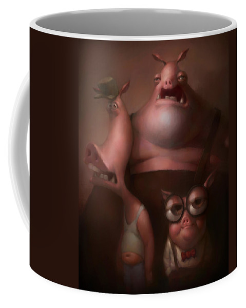 Fairytale Coffee Mug featuring the painting Three Little Pigs by Adam Ford