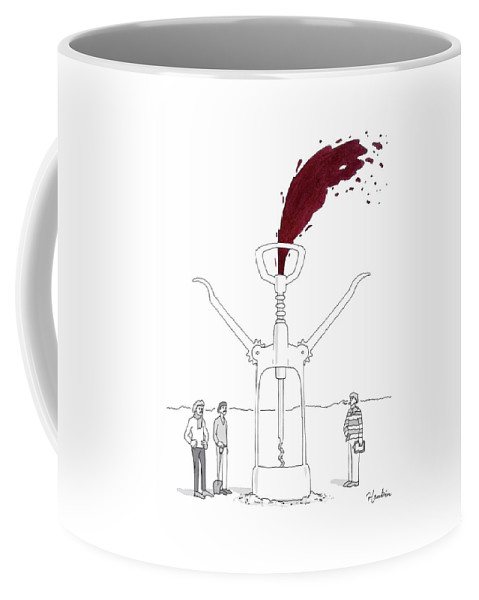 Captionless Coffee Mug featuring the drawing Three Men In Berets Drill Into The Ground by Charlie Hankin