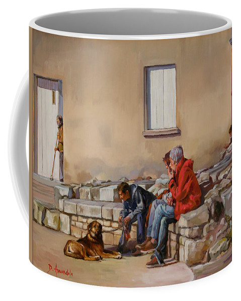Oil Painting Coffee Mug featuring the painting Three Men With A Dog by Dominique Amendola