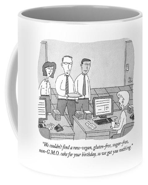 Gluten Coffee Mug featuring the drawing Three Office Workers by Peter C. Vey