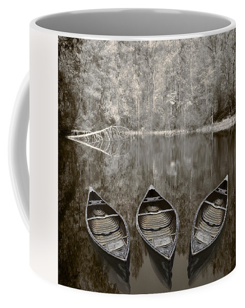 Appalachia Coffee Mug featuring the photograph Three Old Canoes by Debra and Dave Vanderlaan