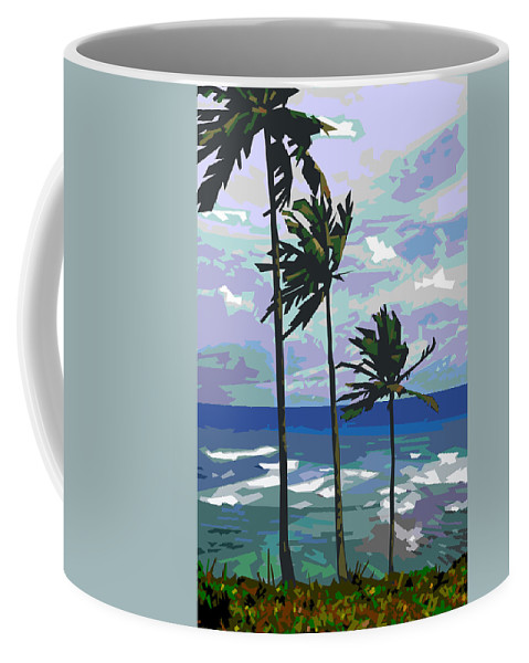 Palm Trees Coffee Mug featuring the digital art Three Palms by Douglas Simonson