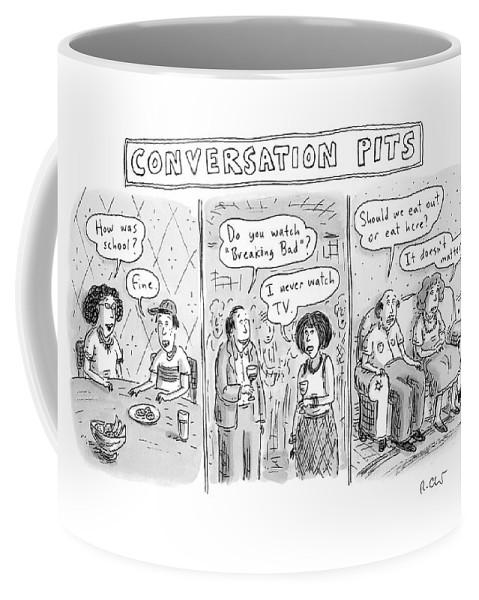 Three Panels Showing Mundane Conversation Topics Coffee Mug
