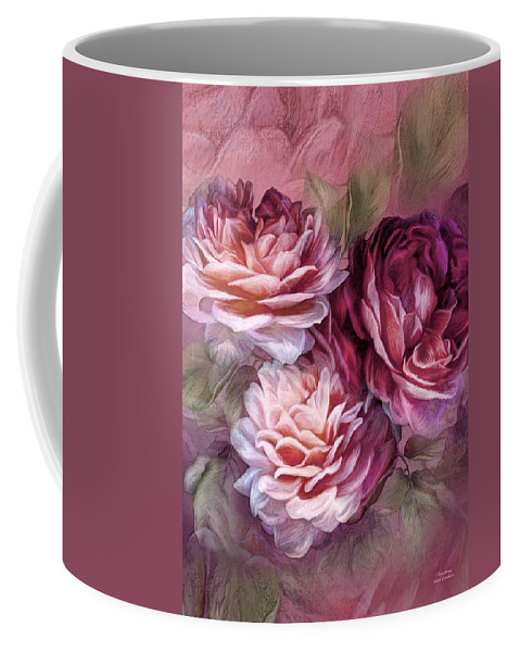 Rose Coffee Mug featuring the mixed media Three Roses Burgundy Greeting Card by Carol Cavalaris