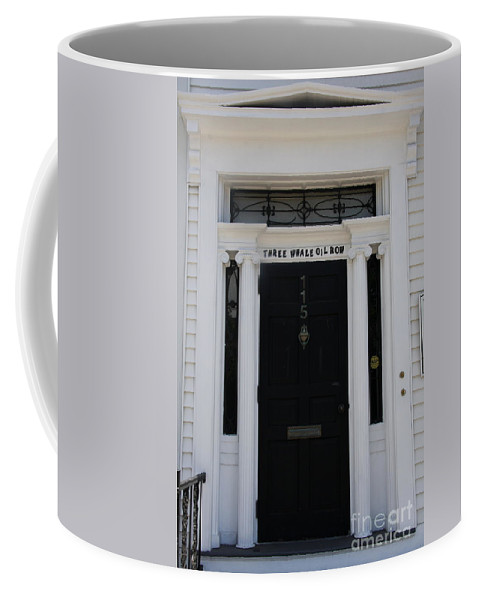 Whale Oil Row Coffee Mug featuring the photograph Three Whale Oil Row - Black Door - New London by Christiane Schulze Art And Photography
