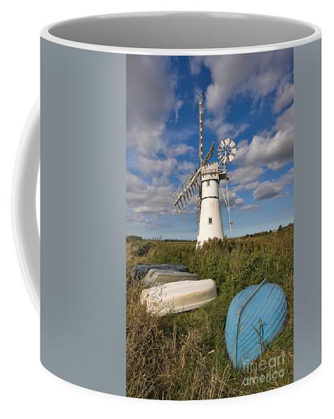 Windmill Coffee Mug featuring the photograph Thurne Dyke Windpump Norfolk by Louise Heusinkveld